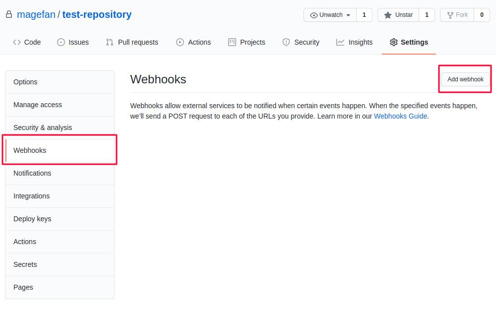 Add Webhook in GitHub