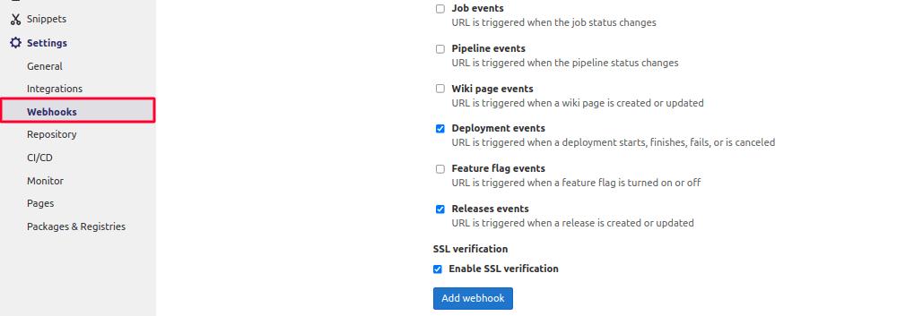 Add Webhooks in Gitlab