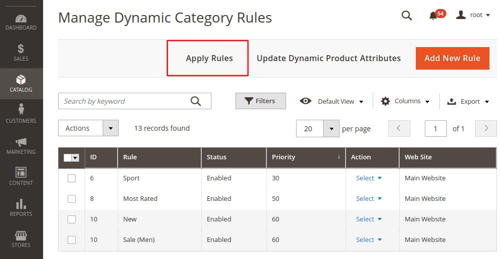 Magento 2 apply dynamic categories rules