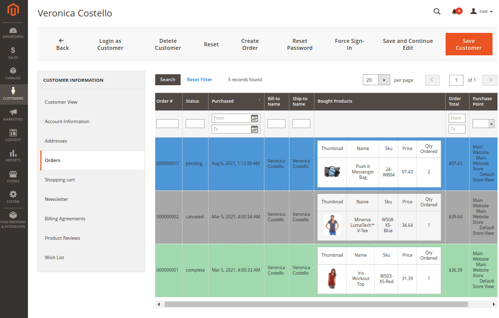 Better Order Grid in Customer Account