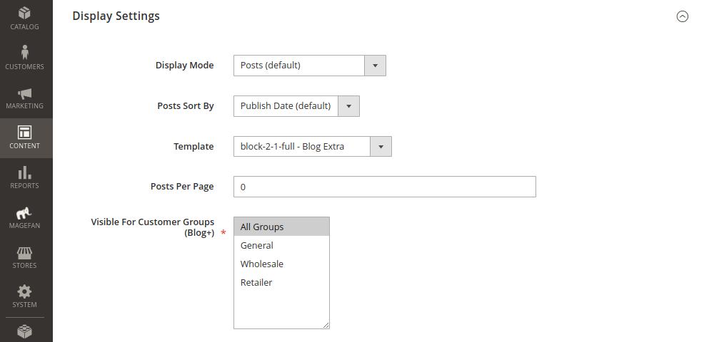 Blog Category Display Settings