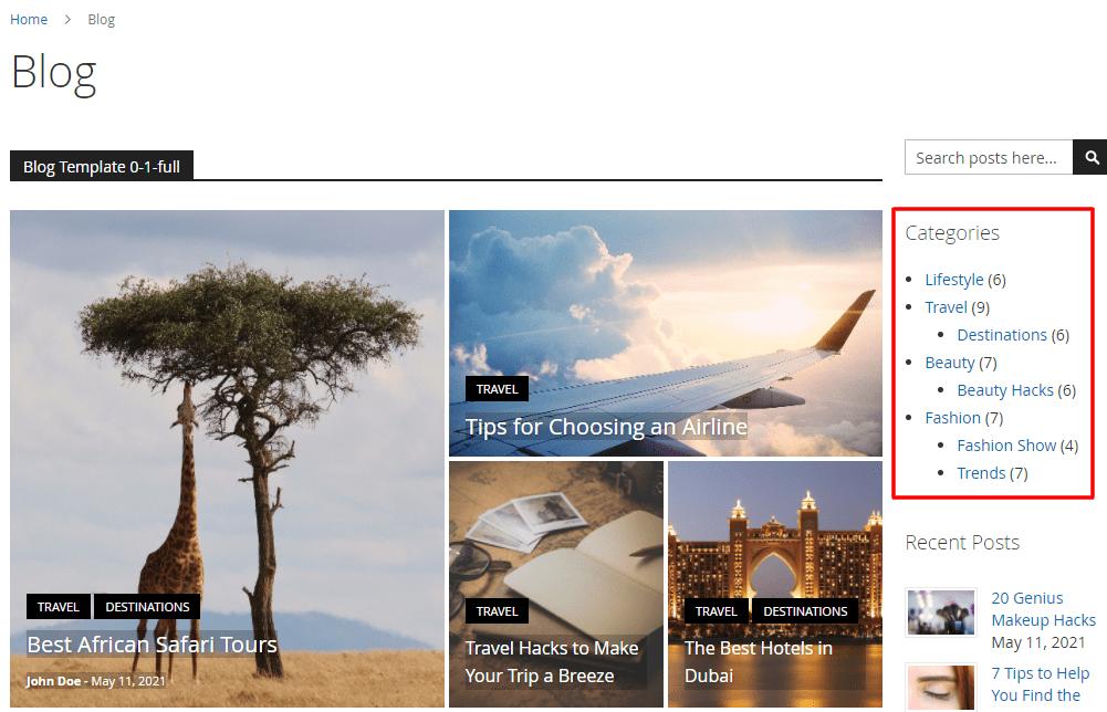Blog Category Tree Widget
