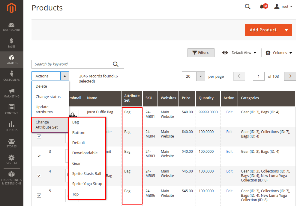 Change Product Attribute Set Massively in Magento 2