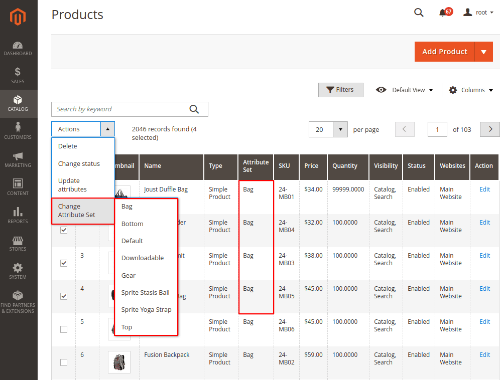 Change Attribute Set Massively in Magento 2