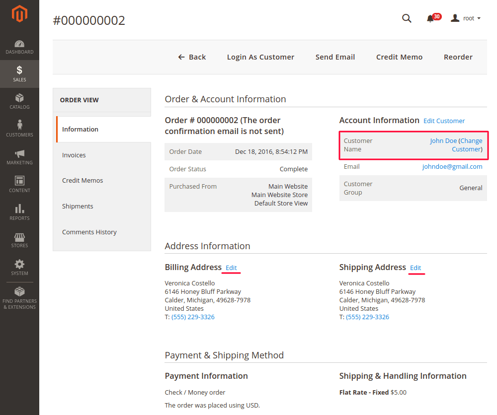 Change Shipping and Billing Address in Magento 2