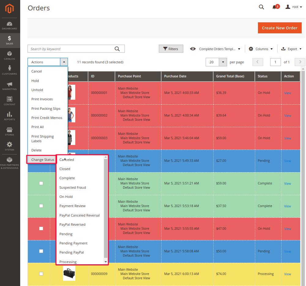 Change Order Statuses in Bulk in Magento 2