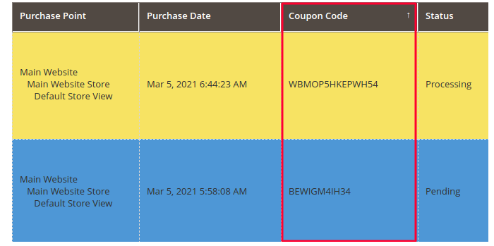 Coupon Code in Magento 2 Order Grid