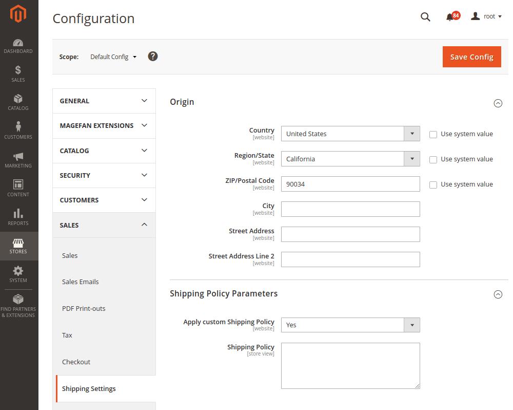 Default Magento Shipping Methods