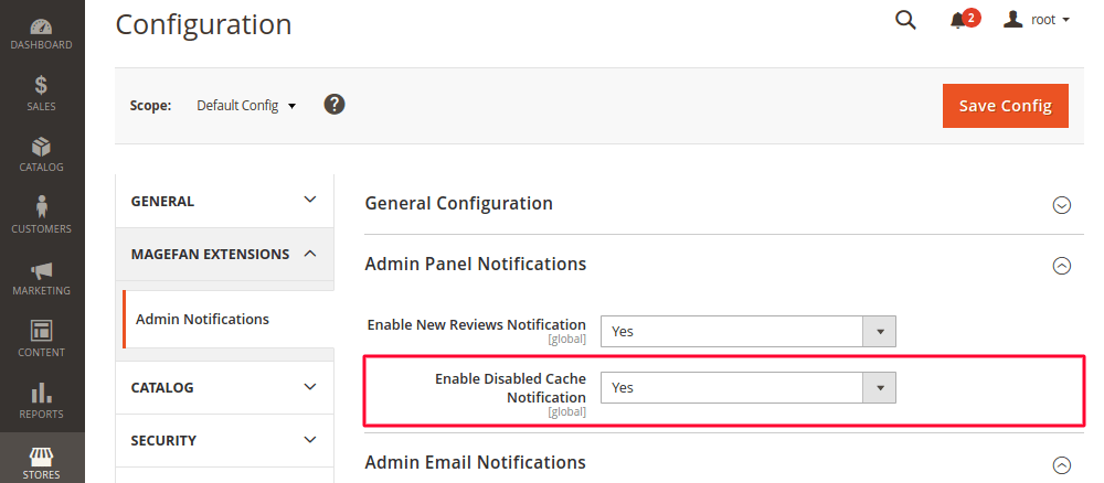 Disabled Cache Notification in Magento 2