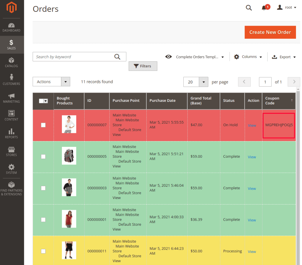 Discount in Order Grid Magento