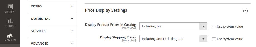 Tax Display Price Settings