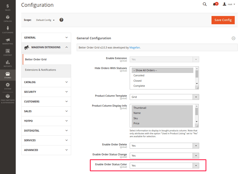 Enable Order Status Color in Magento 2