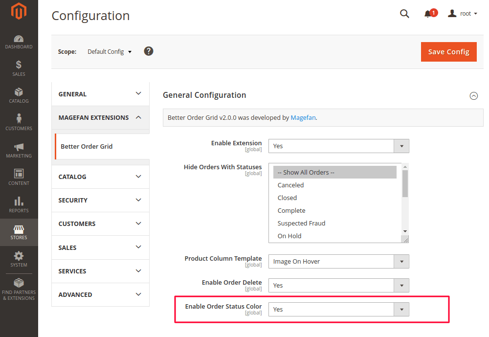 Enable Order Status Colors in Magento 2