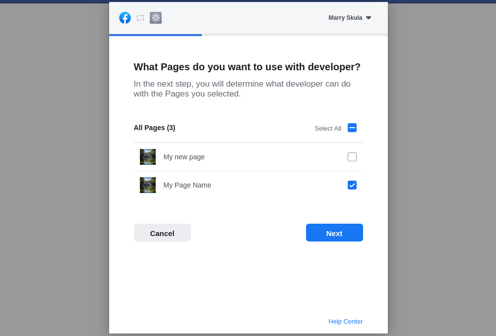 Facebook access token pages