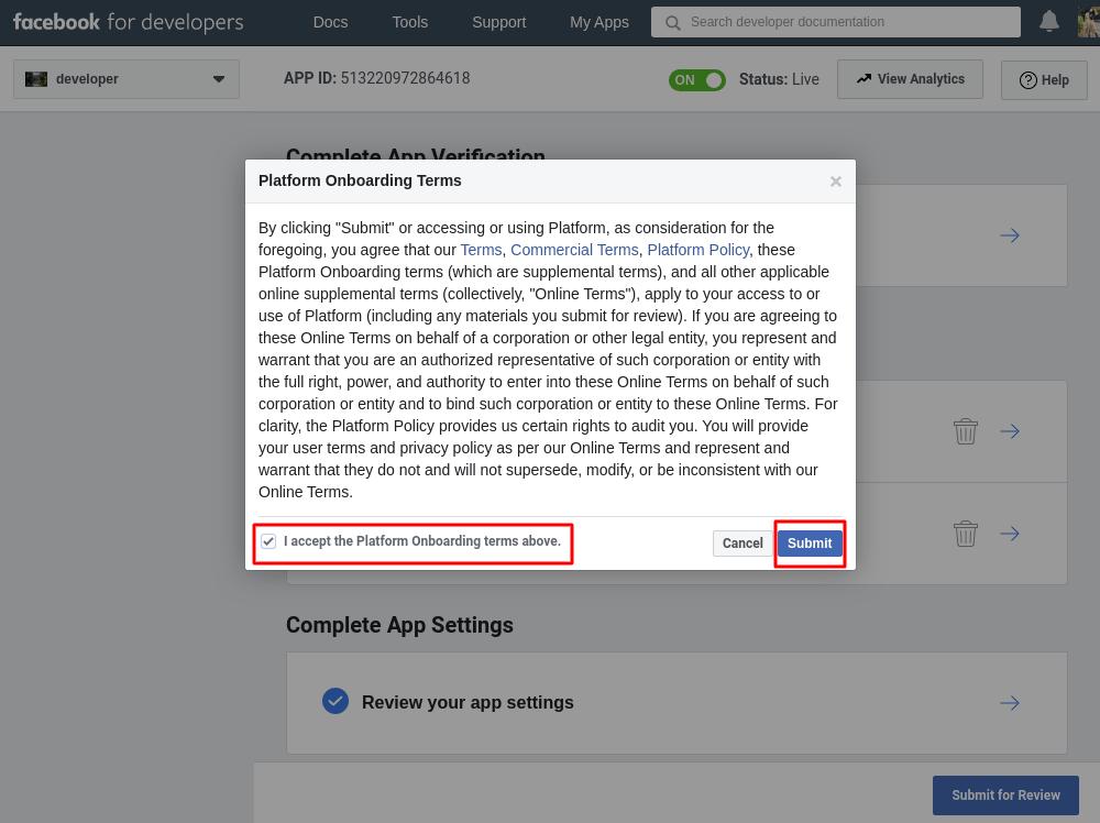 Facebook API permission submission