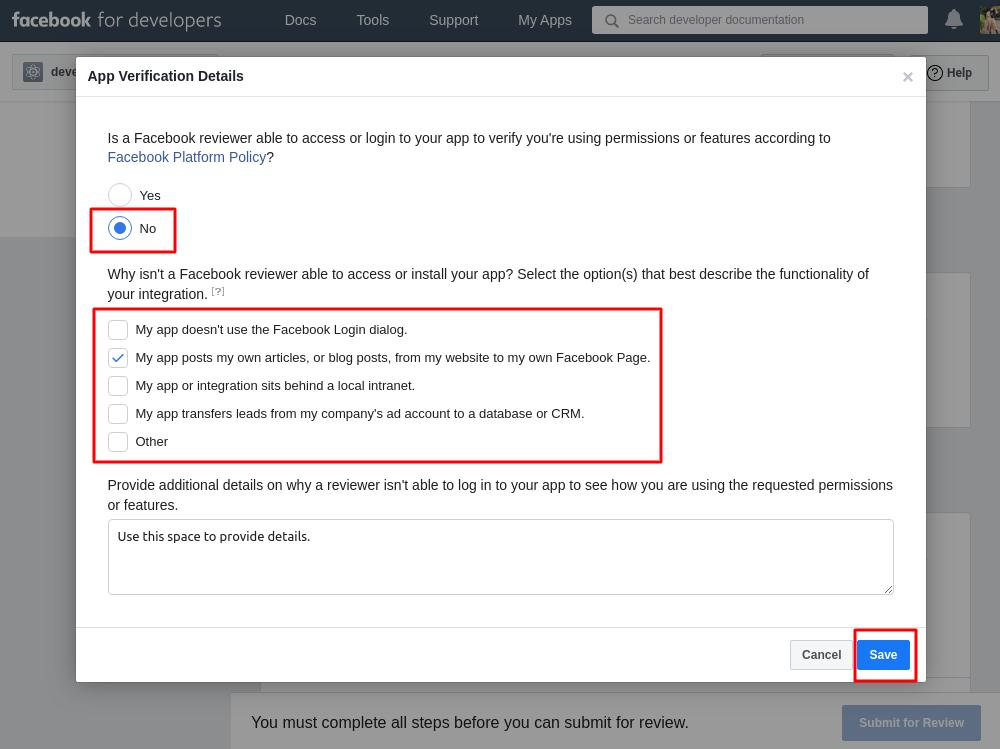 Facebook App ID verification details