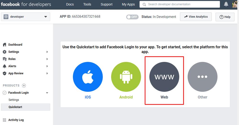 Facebook website platform