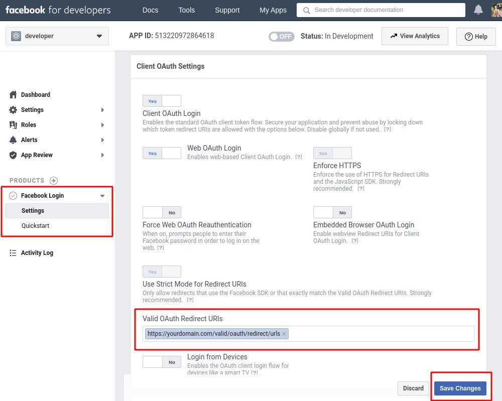 Facebook client oauth login settings