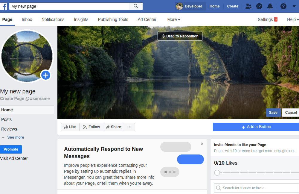 Facebook new page