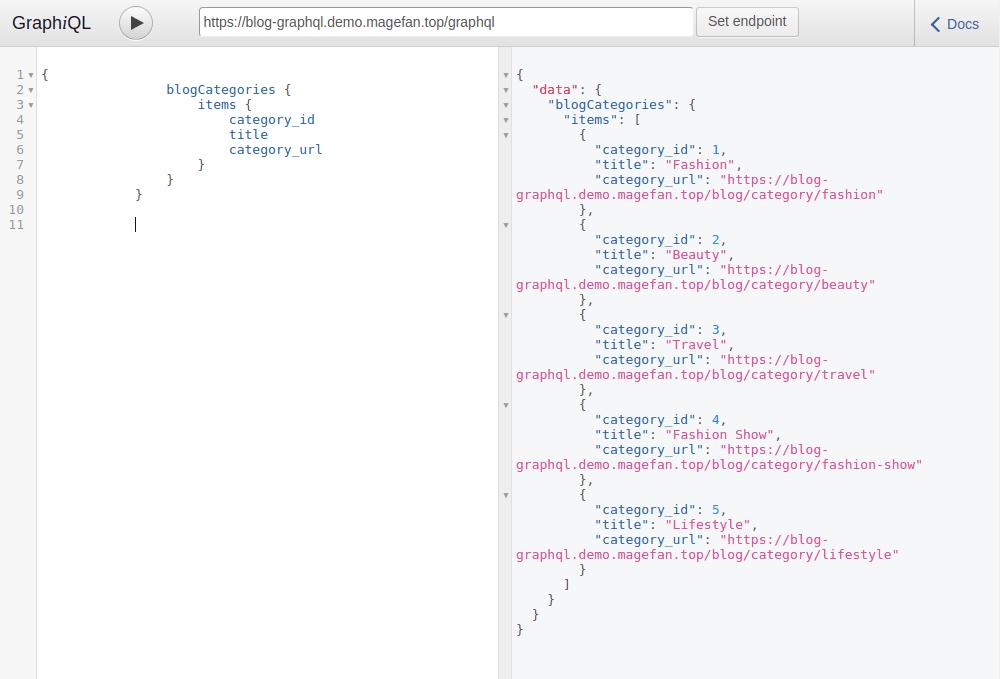 GraphQL sidebar category test