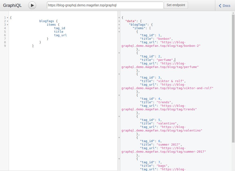 GraphQL sidebar tags test