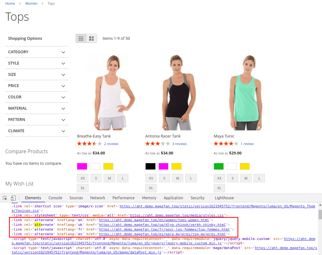 Hreflang Tags in Magento 2 Category Page