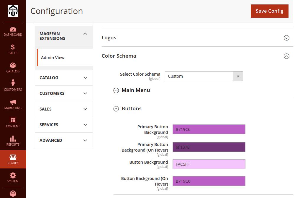 Magento 2 Admin Buttons Color Schema