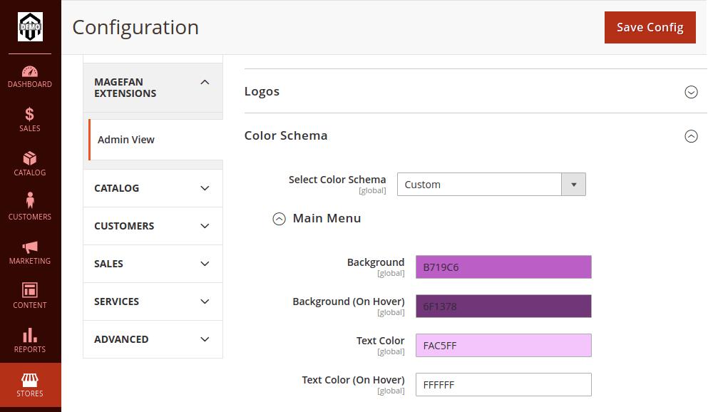 Magento 2 Admin Main Menu Color Schema