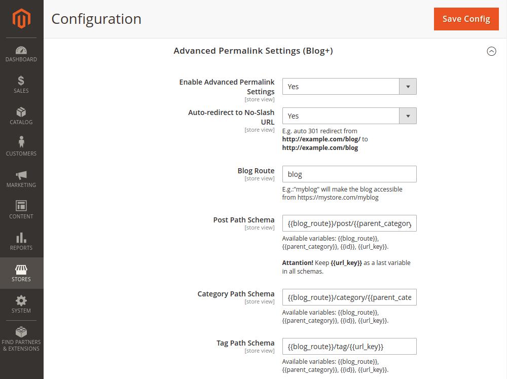 Magento 2 advanced permalink settings