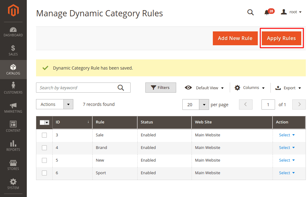 Magento 2 apply dynamic category rules
