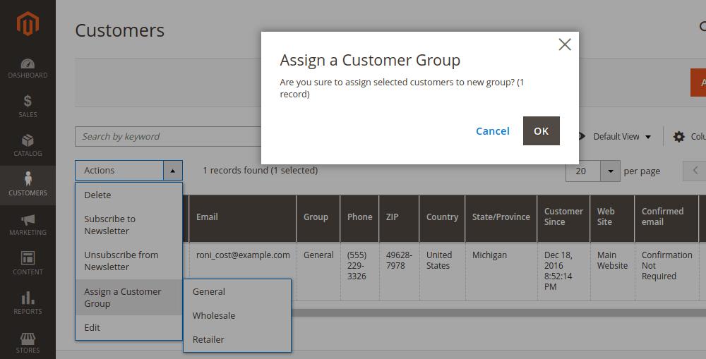 Magento 2 Assign Customer to Customer Group