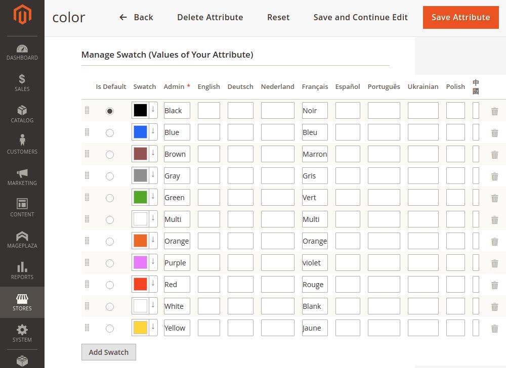 Magento 2 attribute options values