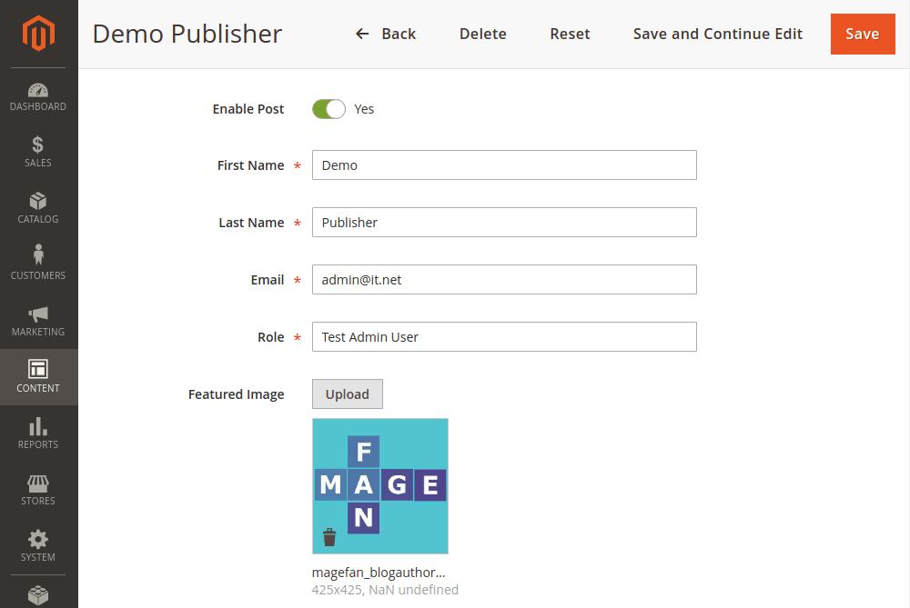 Magento 2 author information