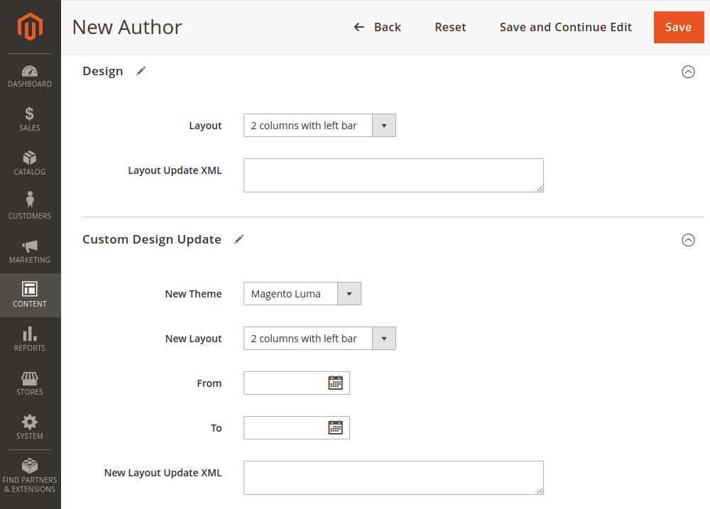 Magento 2 author page design