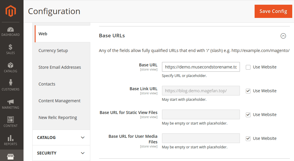 Magento 2 Base URL Configuration
