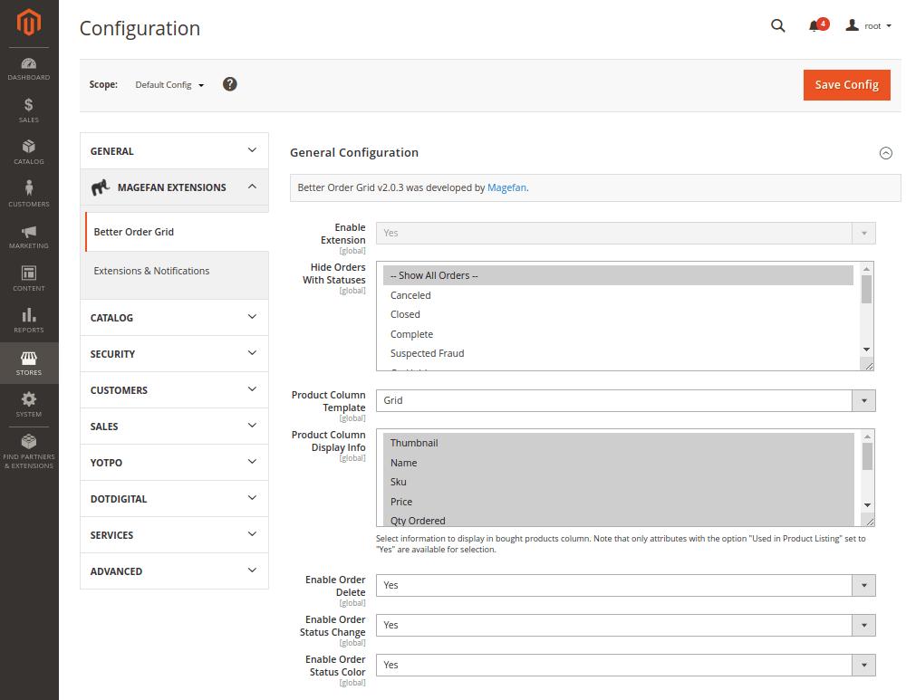 Magento 2 Better Order Grid Configuration