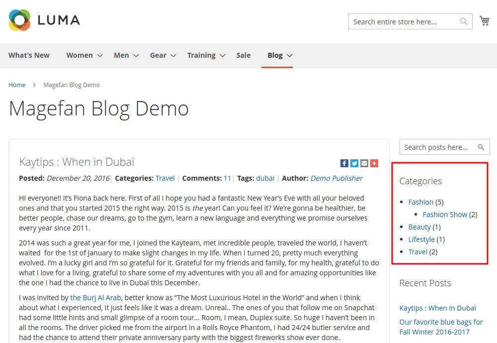 Magento 2 categories widget storefront