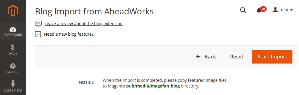 Magento 2 blog import from aheadworks M1
