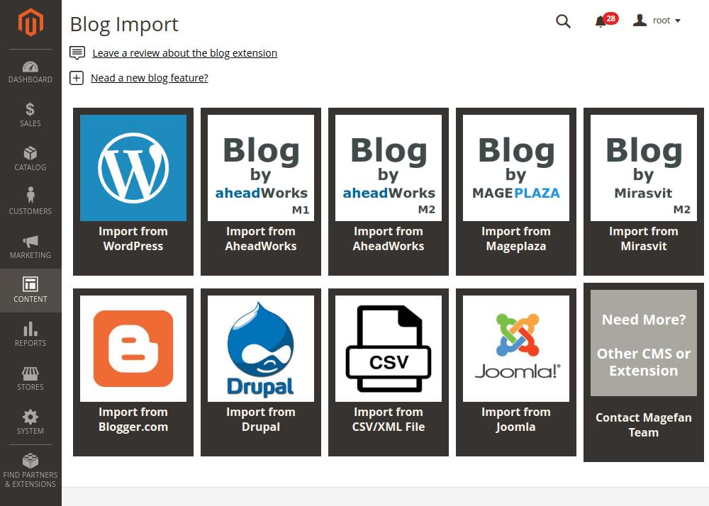 Magento 2 blog import