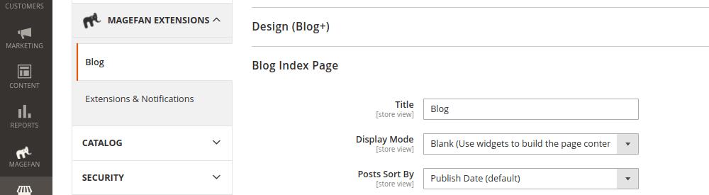 Magento 2 Blog Index Page