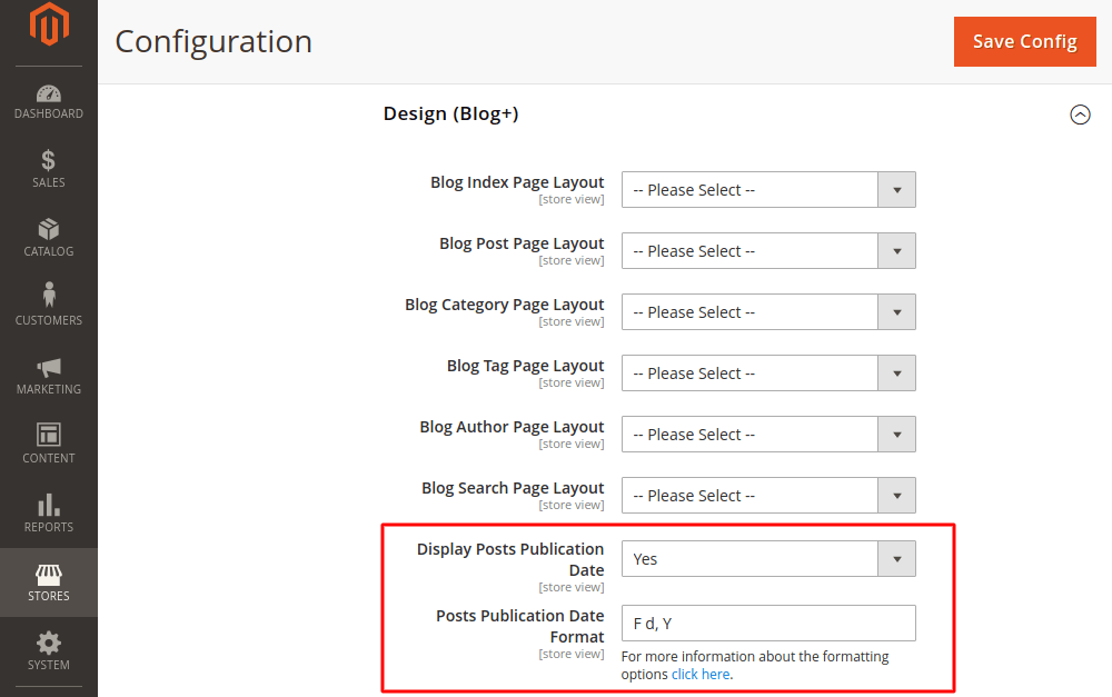 Magento 2 blog post date option