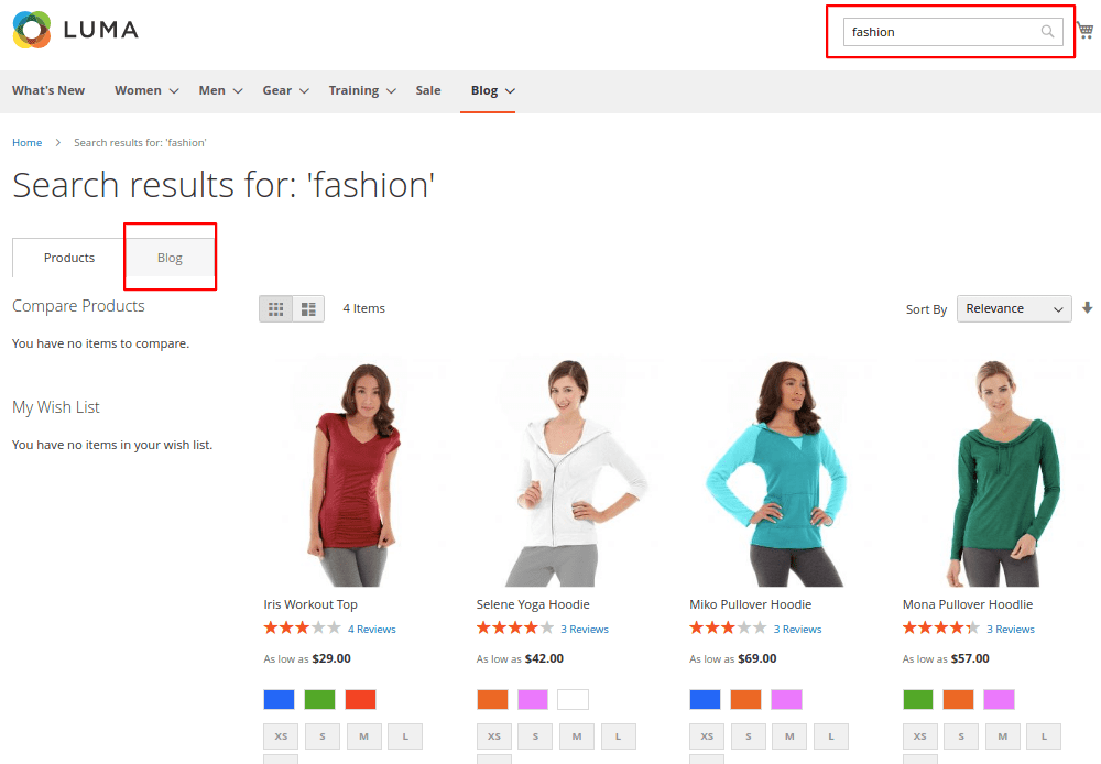 Magento 2 Blog Search on Storefront