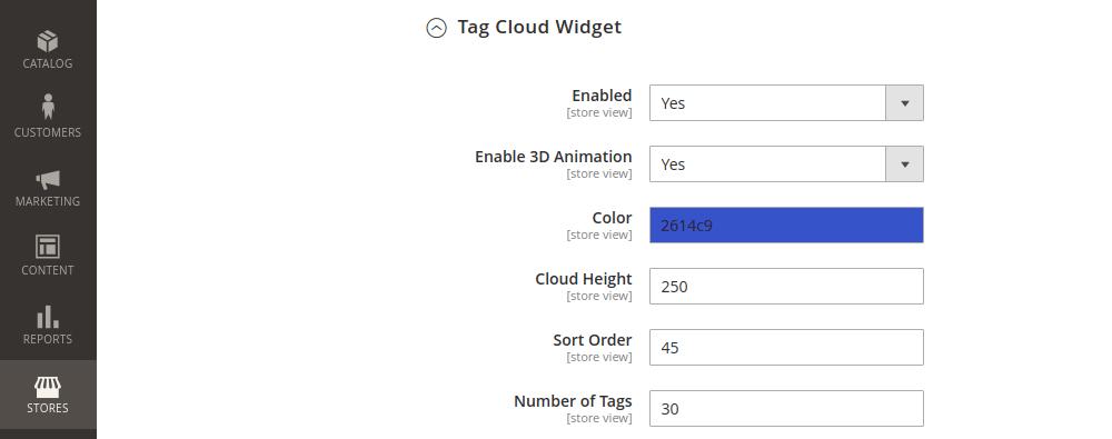 Magento 2 blog tag cloud animation configuration