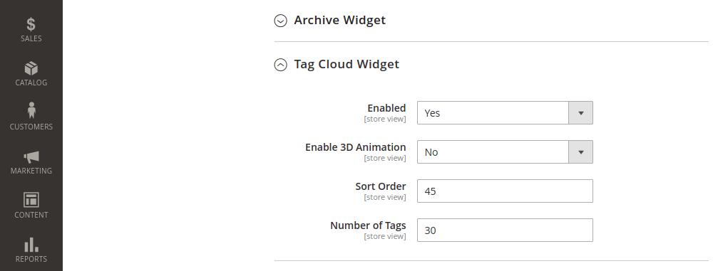 Magento 2 blog tag cloud configuration
