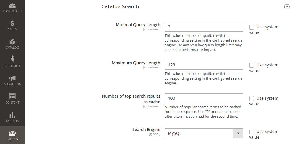 Magento 2 Catalog Search Configuration
