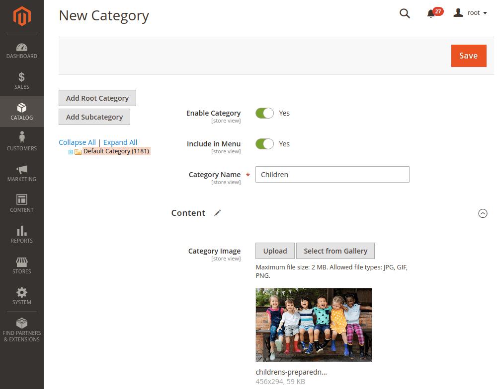Magento 2 category content