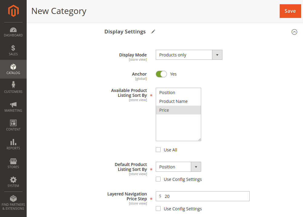 Magento 2 category display settings