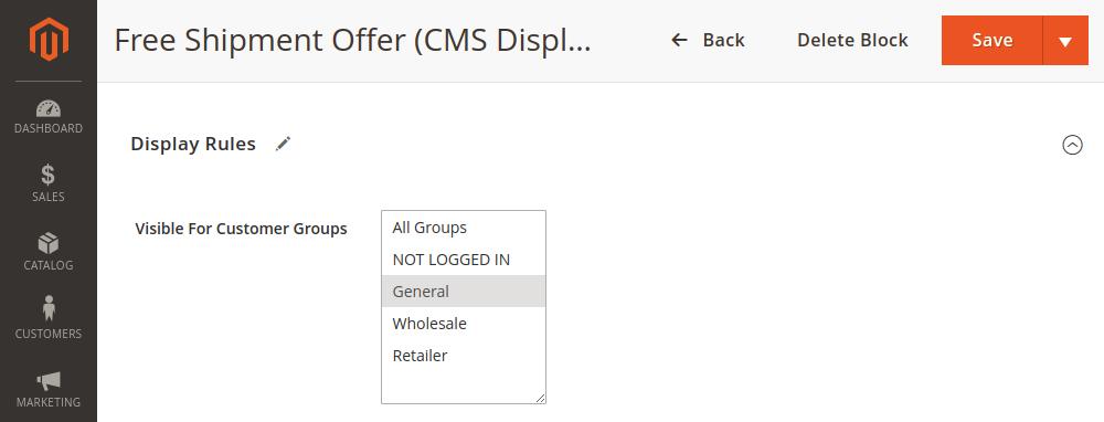 Magento 2 CMS block customer group