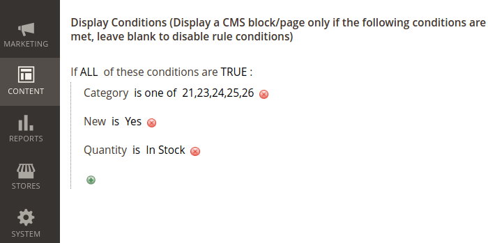Magento 2 CMS Block Display Conditions