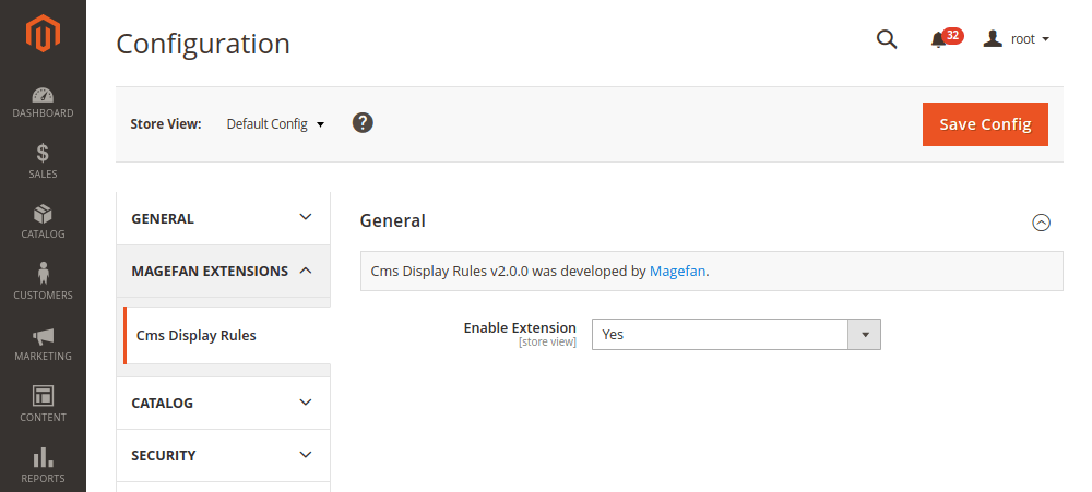 Magento 2 CMS Display Rules extension configuration